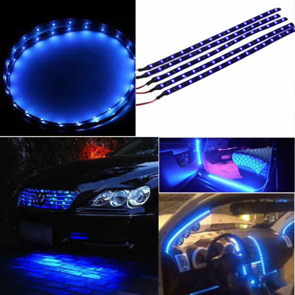 30cm Waterproof 15 Blue LED Car Vehicle Motor Grill Flexible Light Strips 12V Hot Selling