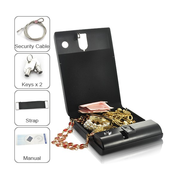Quality Biometric Fingerprint Safe Box Solid Steel Key Gun Vault Valuables Box Cable Portable Bio-box