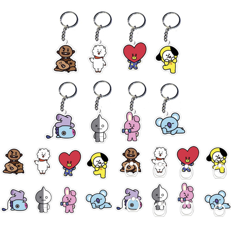 24 Style BT21 BTS Bangtan Boys KPOP BTS Keyring Badge mobile Phone ring Keychain PVC Action Figures toy fan gift